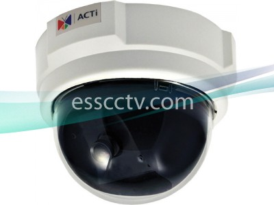 ACTi Megapixel IP Dome Camera - 30 fps at HD 720p, 3.6mm, H.264, PoE