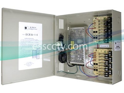 B-TRON Power Distribution Box 12V DC Regulated 16 outputs 8 Amps UL Listed, Fused