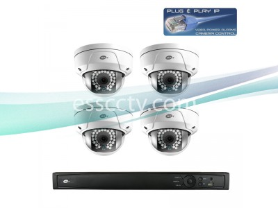Network IP Cameras and NVR Package, 4ch HD 3 MP Rugged Dome Cameras, Built-in PoE switch