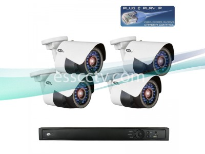 Network IP Cameras and NVR Package, 4ch HD 3 MP Rugged Bullet Cameras, Built-in PoE switch