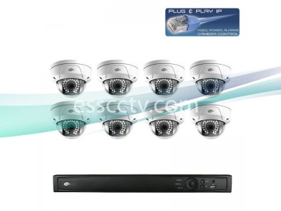Network IP Cameras and NVR Package, 8ch HD 3 MP Rugged Dome Cameras, Built-in PoE switch