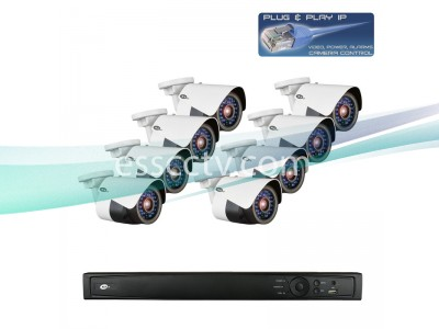 Network IP Cameras and NVR Package, 8ch HD 3 MP Rugged Bullet Cameras, Built-in PoE switch
