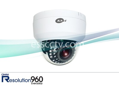 KT&C KPC-DI28V12IRN Dome IR Camera, 960H 750 TVL, 2.8-12mm, 24 LED, Easy Twist & Lock Mount