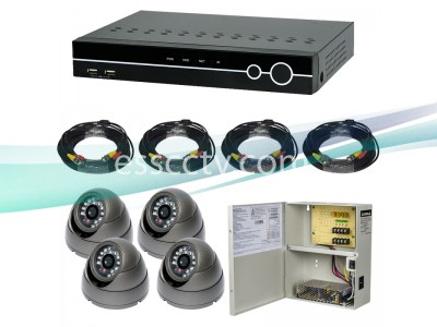 4ch DVR Package - Analog HD 1000 TVL 720p dome IR cameras, 960H DVR system
