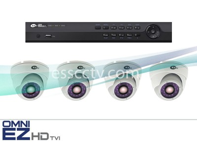 KT&C HD-TVI 4ch Package - Full HD 1080p system, 2 MP Outdoor Turret Dome IR cameras