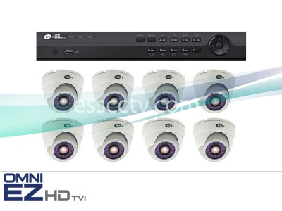 KT&C HD-TVI 8ch Package - Full HD 1080p system, 2 MP Outdoor Turret Dome IR cameras