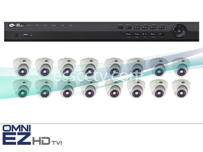 KT&C HD-TVI 16ch Package - Full HD 1080p system, 2 MP Outdoor Turret Dome IR cameras