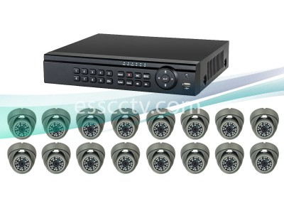 16ch Analog HD Complete Package, AHD 720p system, outdoor eyeball dome IR cameras
