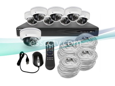 KIT-NVR-6088D 8x 2MP Dome IP Camera Security System + 8CH 1080p NVR with 2TB HDD and Built-in POE