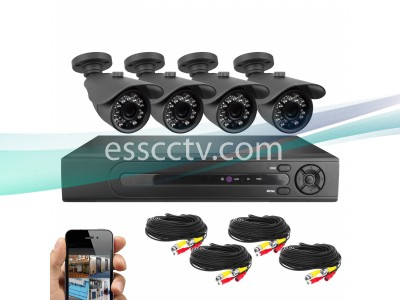 KIT-2084B 8 CHANNEL 1TB SECURITY CAMERA SYSTEM + (4) 1MP AHD OUTDOOR BULLET CAMERAS