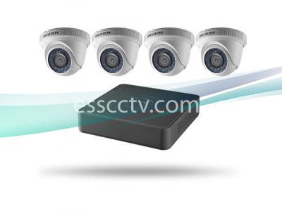 Hikvision TurboHD 4 Channel DVR and 4 Turret Cameras Kit